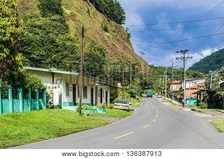 Boquete Panama - November 20 2015: Road in the city of Boquete in Panama.