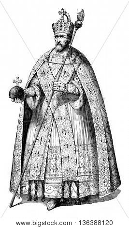 Charlemagne in full dress imperial, vintage engraved illustration. Magasin Pittoresque 1843.