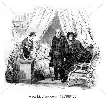 The doctor visit, vintage engraved illustration. Magasin Pittoresque 1843.
