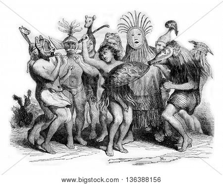Brazilian Wild Dances, vintage engraved illustration. Magasin Pittoresque 1843.