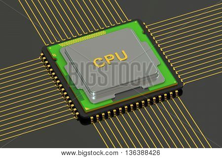 cpu computer processor 3D rendering on black background