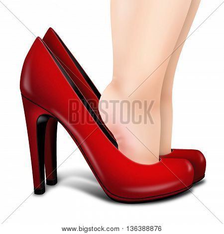 3D illustartion isolated red shoe on white and little child legs