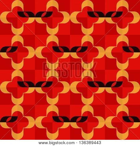 Pattern of stylized domino masks and golden quatrefoils on checkered red background. Seamless repeat.