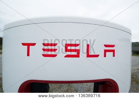 TINGVOLL, NORWAY - CIRCA JUNE, 2016: Tesla charging stations are located throughout EU to accommodate owners of the electric car.