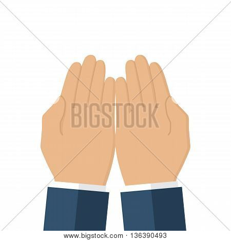Palm empty men. Gesture hands. Vector illustration flat design. Isolated human hand on a white background.