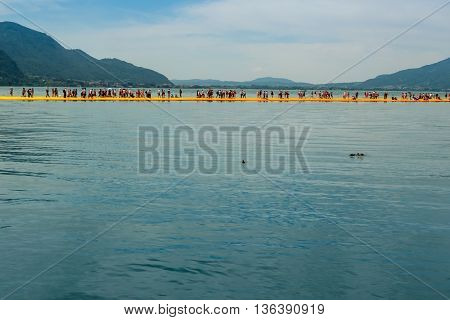 Floating Piers On Lake Iseo Seen From Montisola