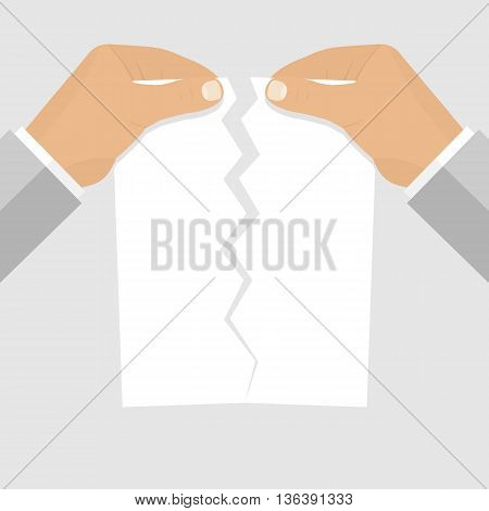 Male hands tearing a blank sheet of paper. Vector illustration of flat design style. Blank paper sheet torn in the hands of a businessman. Termination of employment. Template for web projects.