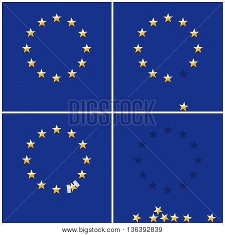 European Union ring stars on blue flag background, flat vector illustration. Symbol of membership in the union. Brexit vector sign. Falling star exit from EU.
