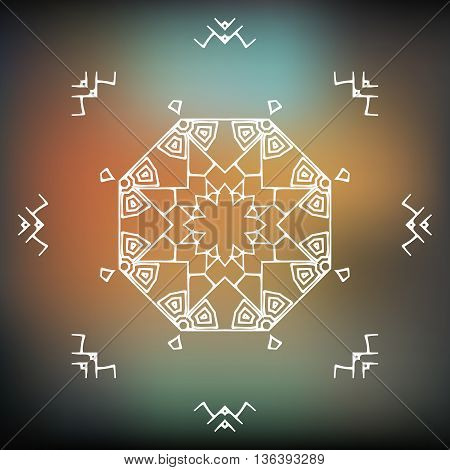Vector Tribal ethnic aztec style. Aztec ornament - icon logo on blurred background