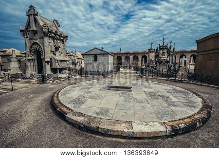 Barcelona Spain - May 24 2015. View of vaults at El Cementerio de Poblenou simply called Poblenou Cemetery in Poblenou district of Barcelona