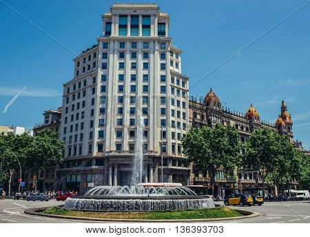 Barcelona Spain - May 26 2015. View of Zara building located at Passeig de Gracia one of the major avenues in Barcelona