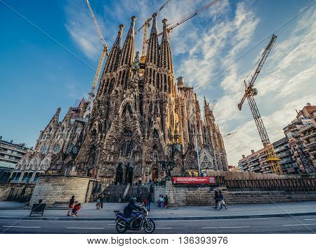 Barcelona Spain - May 26 2015. View of main facade of Sagrada Familia (Holy Family) church designed by Spanish architect Antoni Gaudi