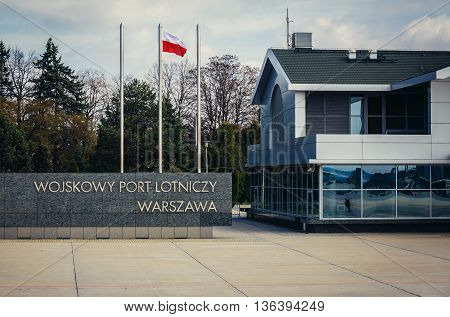 Warsaw Poland - April 8 2015. Okecie military airport in Warsaw