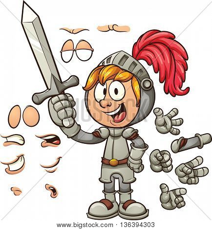 Cartoon knight with different expressions. Vector clip art illustration with simple gradients. Some elements are on separate layers.