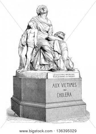 1852 Sculpture Show, Cholera, vintage engraved illustration. Magasin Pittoresque 1852.