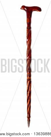 wooden walking stick for the sick and lame people on a white background