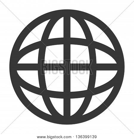 simple flat design earth globe diagram with latitudes and meridians icon