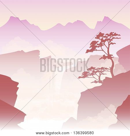 vector illustration of a misty landscape in the Chinese style