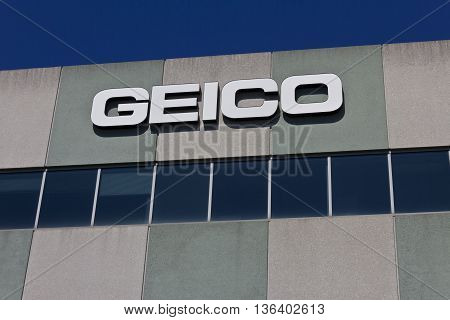 Indianapolis - Circa June 2016: GEICO Insurance Office. GEICO is a Subsidiary of Berkshire Hathaway I