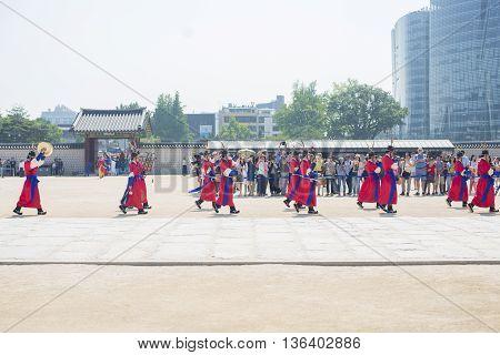 SEOULSouth Korea - MAY 22: Changing of the Royal guard ceremony at the Gwanghwamun main Gate of Gyeongbokgung Palace. MAY 22 2016 in Seoul South Korea