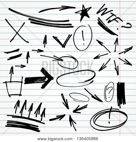 set of hand drawn highlighter elements such as arrows, underlines, circles and marks