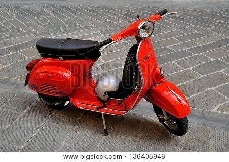 Genova, Italy - August 17, 2015: vespa primavera 125 et3 iconic Italian scooter.