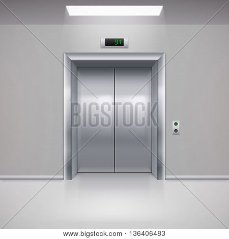 Realistic Metal Modern Elevator with Closed Door