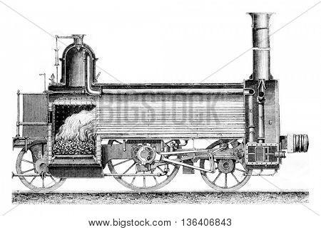 Longitudinal section of a locomotive, vintage engraved illustration. Magasin Pittoresque 1861.