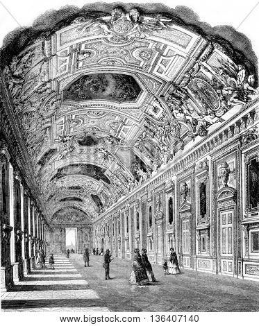The Apollo Gallery in the Louvre, vintage engraved illustration. Magasin Pittoresque 1852.