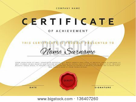 Template certificate vector photo free trial bigstock template certificate design in gold color award certificate in flat style diploma frame awarding yelopaper Choice Image