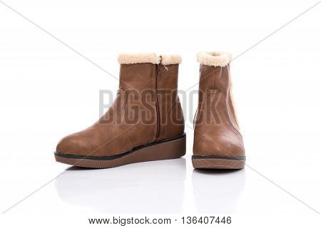 Brown woman boots isolated on white background