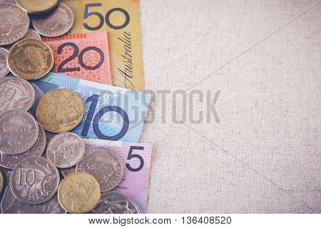 Australian money AUD selective focus toning copy space background