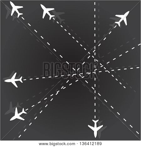 Travel background airplane flying single lane road outline pattern airport