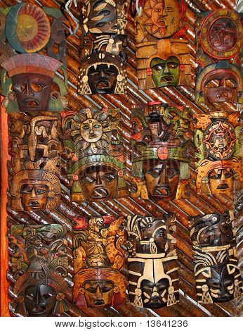 Mexican Wooden Mask Handcrafted Wood Faces