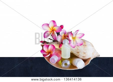 Isolated Mini Set Of Bubble Bath And Shower With Flowers