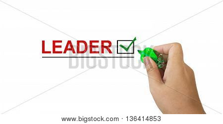 Text Leader In Red Colour With Isolated Hand