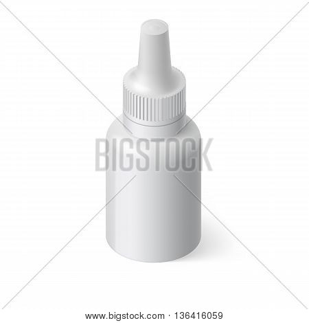 Image of Medical Spray Bottle Template with Medicine on White