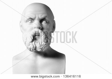 White Marble Bust Of The Greek Philosopher Socrates, Isolated On White