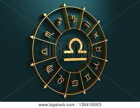 Scales astrology sign. Golden astrological symbol. 3D rendering