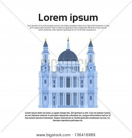 London Cathedral English Church Dome Flat Vector Illustration