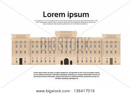 Westminster Abbey Parliament Palace London Building Flat Vector Illustration