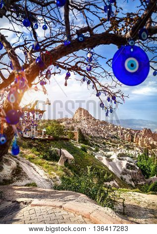 Cappadocia Uchisar Castle And Tree With Amulets