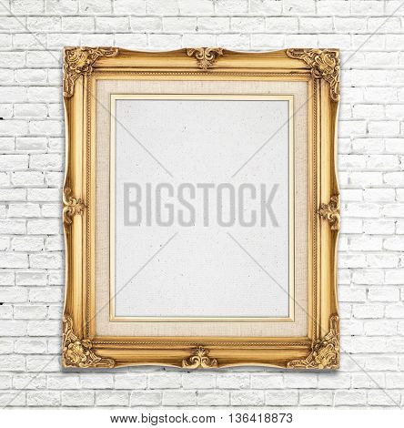 Blank Gold Vintage Photo Frame On White Brick Wall, Template For Adding Photo