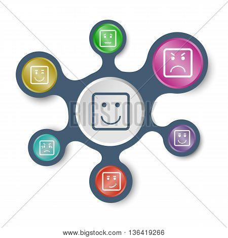 Square face infographic templates with connected metaballs, stock vector
