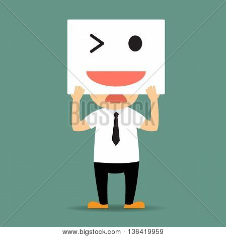 sad businessman hide his tired and bored face by white card smiley to express himself to be happiness. vector illustration.
