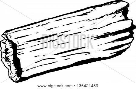 Single Hollow Rotting Log Outline