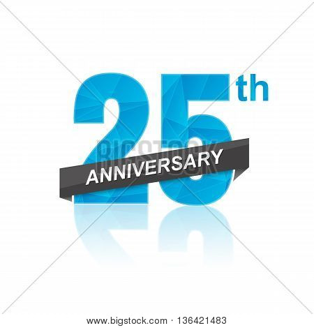 25th Years Anniversary Celebration Design. Vector illustration