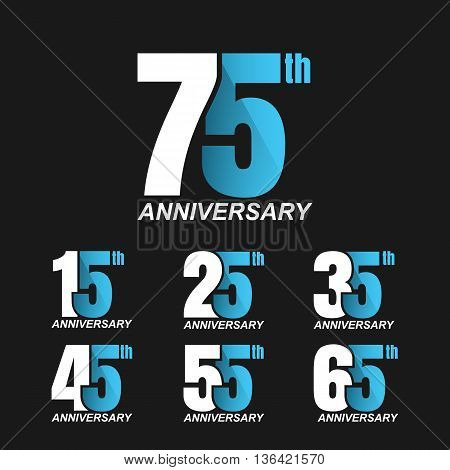 Set of anniversary signs, Anniversary Celebration Design. Vector illustration