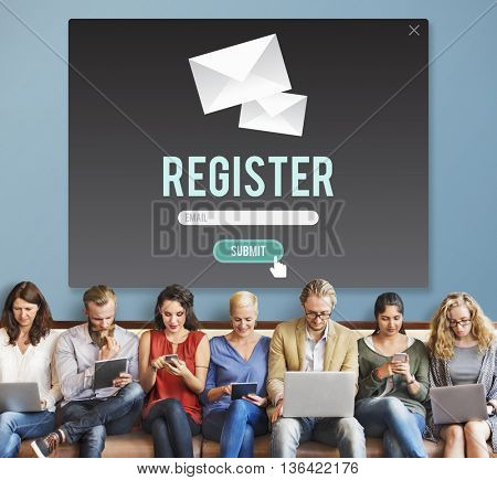 Register Apply Enlist Join Record Sign-Up Enter Concept