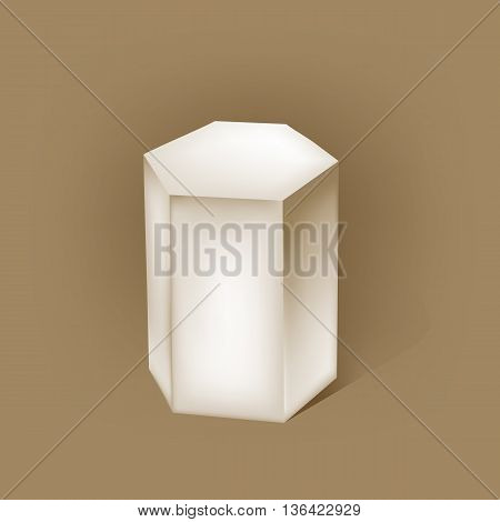 white hexagonal prism on brown. vector illustration